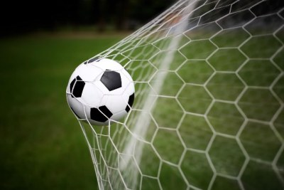 A soccer ball in the net (file photo).