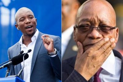 Left: Democratic Alliance leader Mmusi Maimane. Right: President Jacob Zuma.