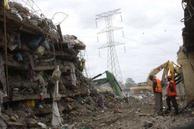 The collapsed building in Kware in Nairobi where two people died.