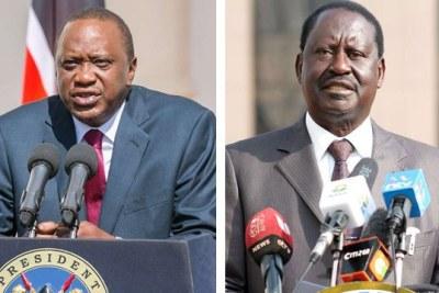 President Uhuru Kenyatta (left) and opposition leader Raila Odinga.