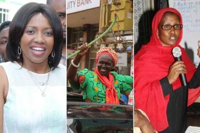 From left: Ms Susan Kihika (Nakuru), Margaret Kamar (Uasin Gishu), and Isiolo's Fatuma Dullo.