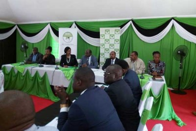 IEBC officials in a meeting with Jubilee and Nasa officials at Bomas of Kenya on September 27, 2017.