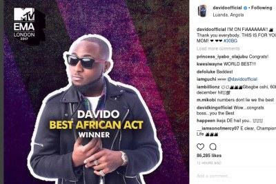 Davido wins Best African Act award.