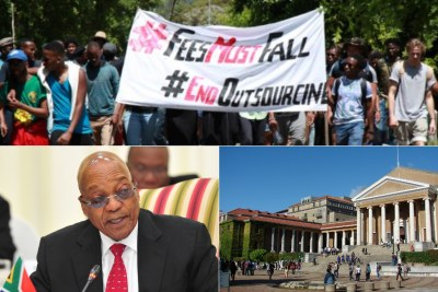 Top: #FeesMustFall protesters. Bottom-left: President Jacob Zuma. Bottom-right: University of Cape Town.