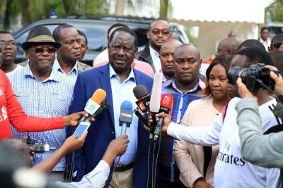 Nasa leader Raila Odinga talks to journalists after condoling with the family of the late Kitui West MP Francis Nyenze at their home in Nairobi's Karen on December 9, 2017.