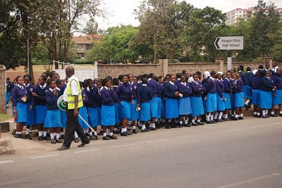 Pangani Girls High School students on Juja Road, Nairobi (file photo)