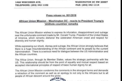 African Union Mission to the USA reacts to President Trump's 'shithole countries' remarks.