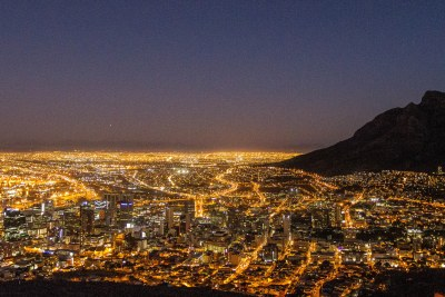 Cape Town at night. city lights