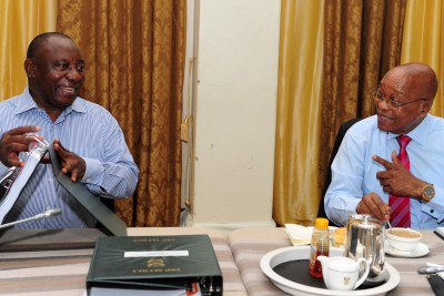 President Jacob Zuma, right, and the country's Deputy President, Cyril Ramaphosa, at an extended Cabinet meeting on January 31 to prepare for the president's state of the nation address.