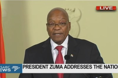 President Jacob Zuma addresses the nation via live television broadcast after his party the African National Congress recalled him. He was told to resign or face a motion of no confidence in Parliament.
