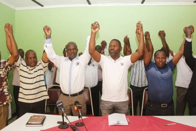 Kenya Universities Staff Union officials at a press conference in Nakuru on February 17, 2018.