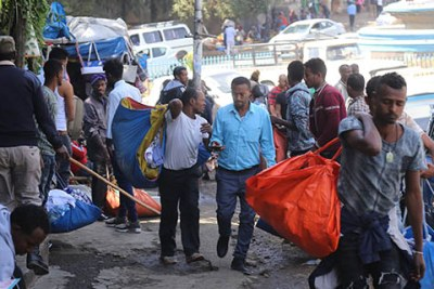 Street vendors in Addis Ababa.