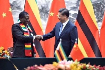 Zimbabwe's Emmerson Mnangagwa and Chinese President Xi Jinping.