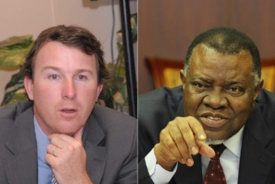 Former head of Areva's mining branch, Sébastien de Montessus and President Hage Geingob (file photo).