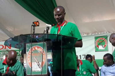 Kenya National Union of Teachers Secretary-General Wilson Sossion speaking during a past meeting.