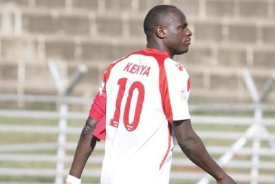 Harambee Stars striker Dennis Oliech during a past training session.
