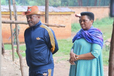 President Pierre Nkurunziza and First Lady Denise Nkurunziza on voting day in the Burundian referendum.