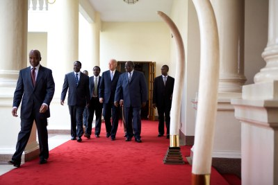 Kenyan president Mwai Kibaiki and prime minister Raila Odinga host then-U.S. vice president Joseph Biden in Nairobi, Kenya in advance of the 2010 constitutional referendum (file photo).