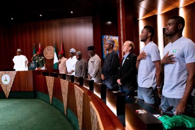 President Muhammadu Buhari meets Super Eagles.
