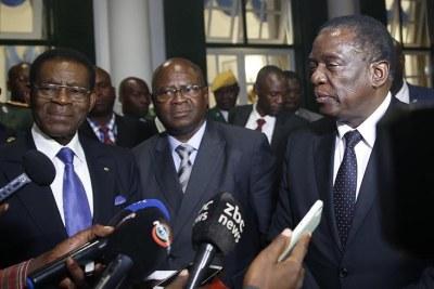 Equatorial Guinea President Teodoro Obiang Nguema Mbasogo and Zimbabwe President Emmerson Mnangagwa (file photo).
