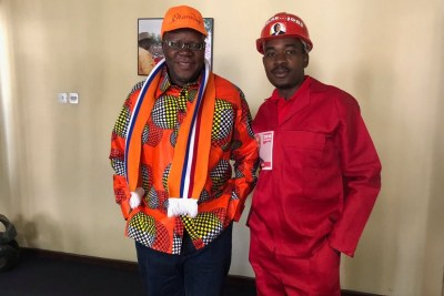 Opposition leaders Tendai Biti and Nelson Chamisa (file photo).