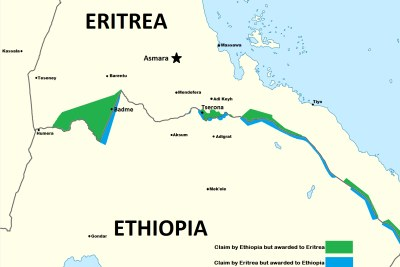 Map showing the disputed border between Ethiopia and Eritrea.