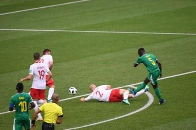 Le tir de Idrissa Gana Gueye qui a occasionné le premier but du Sénégal face à la Pologne. (Score finale 2-1)