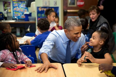 Barack Obama at the Community Children's Center in Lawrence - one of the nation's oldest Head Start providers (file photo).