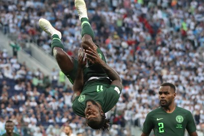 Victor Moses somersaults after scoring an equalizer in Nigeria's clash with Argentina in St Petersburg on June 26.