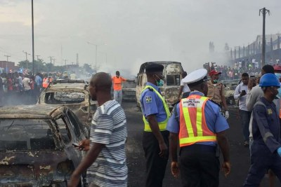 Several vehicles burnt as petrol tanker catches fire in Lagos.