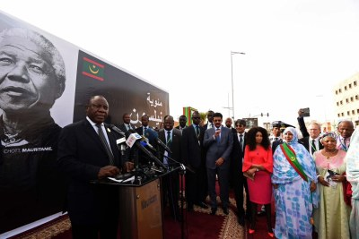 South African President Cyril Ramaphosa, with President Mohamed Abdel Aziz of the Islamic Republic of Mauritania and African Union Chairperson President Paul Kagame, officiating the Inauguration of Nelson Mandela Avenue in Nouakchott, Mauritania.