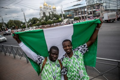 Nigerian fans in Kaliningrad, Russia, ahead of the Super Eagles' clash against Croatia.