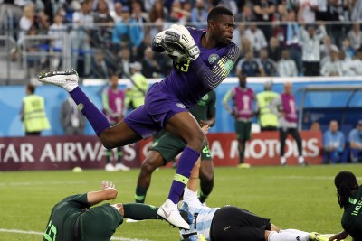 Francis Uzoho in action as Nigeria's goalkeeper in the Super Eagles' match against Argentina at the 2018 FIFA World Cup (file photo).