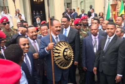HE President Isaias Afworki received to his delight a surprise gift of a horse, a shield and a spear— from Oromia Regional President Lemma Megerssa. A spear and shield is the most prized possession of an Oromo traditional warrior.