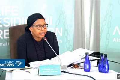 Video screenshot of former Gauteng health MEC Qedani Mahlangu during the Life Esidimeni arbitration hearings (file photo).