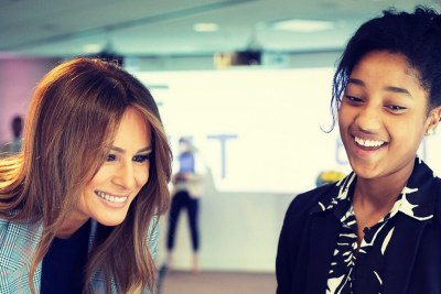 U.S. First Lady Melania Trump met students at Microsoft's Innovation & Policy Center in Washington, DC.