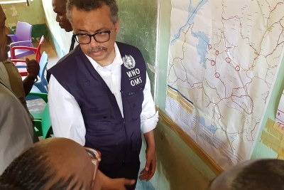 WHO Director-General Dr Tedros visited the town of Bikoro in the north-west of the Democratic Republic of the Congo to assess the response to the Ebola outbreak (File photo).
