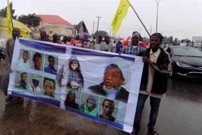 Rassemblement pour la libération de prisonniers y compris Ibrahim Zakzaky, dirigeant du Mouvement islamique du Nigeria et de son épouse, tenu à Kano, dans le nord du Nigéria, le 11 août 2016.