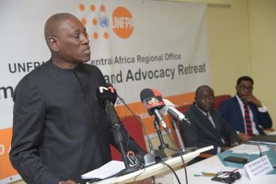 Le Directeur régional de UNFPA, M. Mabingué Ngom (au micro) à l'ouverture de l'atelier sur la gestion des changements de l'organisation, le mardi 28 août 2018