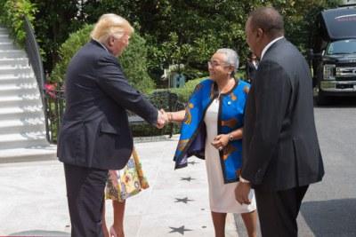 Presidents Donald Trump and Uhuru Kenyatta with the First Ladies Melania Trump and Margaret Kenyatta (file photo).