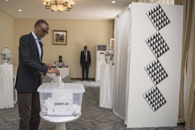 President Paul Kagame, who is in China for this year's Forum on China-Africa Cooperation, casts his votes in the Rwandan embassy in Beijing.