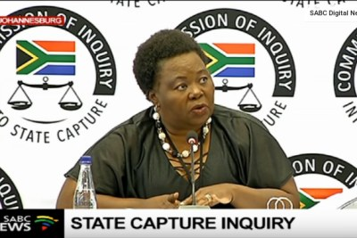 Video screenshot of acting Director-General of the Government Communication and Information System, Phumla Williams at the Zondo Commission of Inquiry.