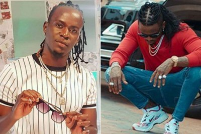 Kenyan Gospel singer Willy Paul (left) and Bongo artiste Diamond Platnumz.