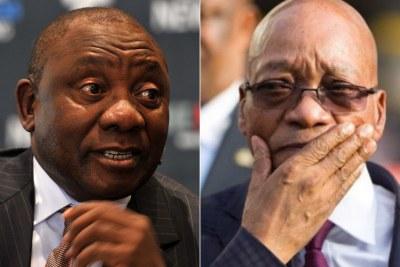 Left: President Cyril Ramaphosa. Right: Former president Jacob Zuma.