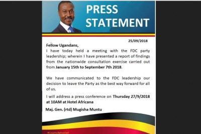 Gregory Mugisha Muntu statement.