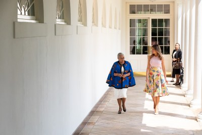 First Lady Melania Trump and Mrs. Margaret Kenyatta, wife of Kenya's President Uhuru Kenyatta, walk along the West Wing Colonnade on August 27, 2018.