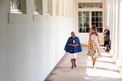 First Lady Melania Trump and Mrs. Margaret Kenyatta, wife of Kenya's President Uhuru Kenyatta, walk along the West Wing Colonnade on August 27, 2018.