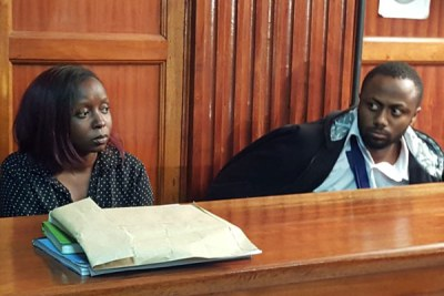 Suspects Jacque Maribe (left) and her fiancé Joseph Irungu at the Milimani Law Courts on October 9, 2018.