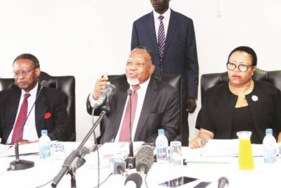 Former South African president and chairperson of the Commission of Inquiry into the August 1 post-election violence Kgalema Motlanthe, flanked by Professor Charity Manyeruke, right, and Chief Emeka Anyaoku at a public hearing in Harare.