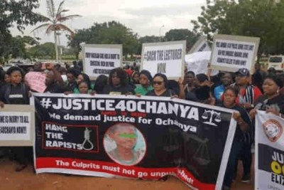 Protesters demanding justice for 13-year-old Ochanya
